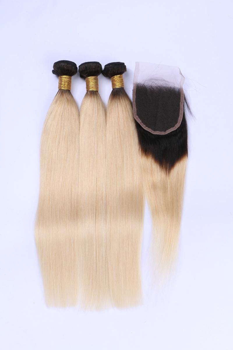 Peruvian Indian Malaysian Brazilian Virgin Straight Hair With Closure Ombre Hair Bundles With Closure 1B Blonde Human Hair