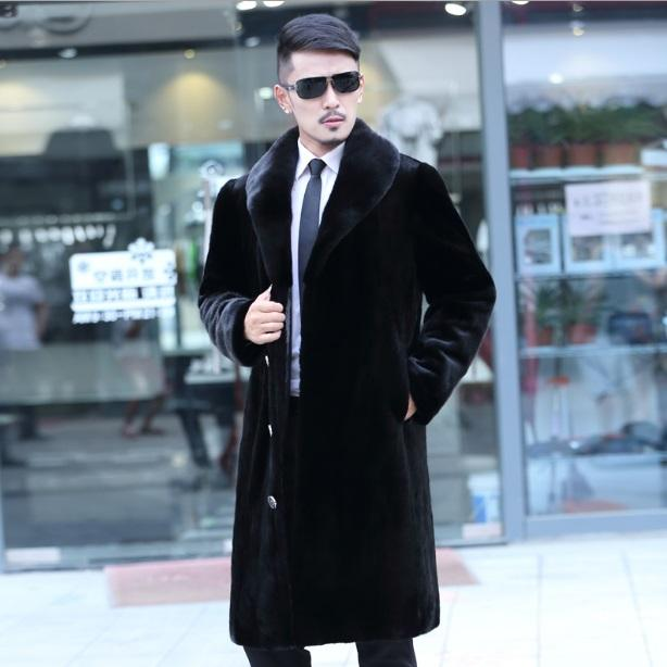 e98db8cadefb 2019 Business Formal Mens Faux Fur Jackets Long Leaher Coats Turn Down  Collar 2017 Winter Black Plus Size Fur Overcoat XL674 From Yakima, $131.22  | DHgate.