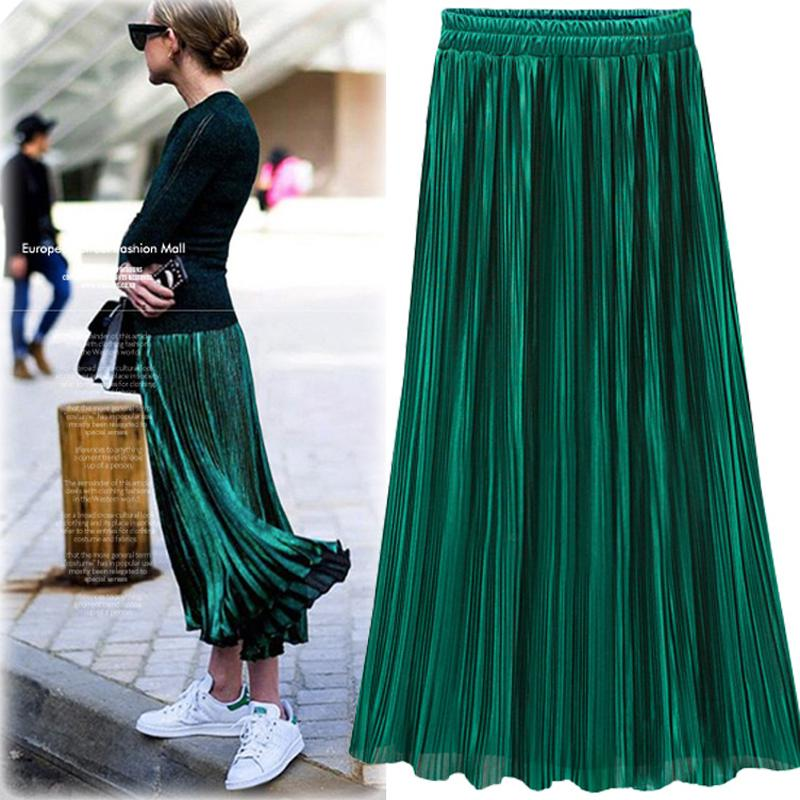 f8190f3d7e 2019 Silver Gold Pleated Skirt Womens Vintage High Waist Skirt 2018 Winter  Long Warm Skirts New Fashion Metallic Skirt Female From Lin_and_zhang, ...
