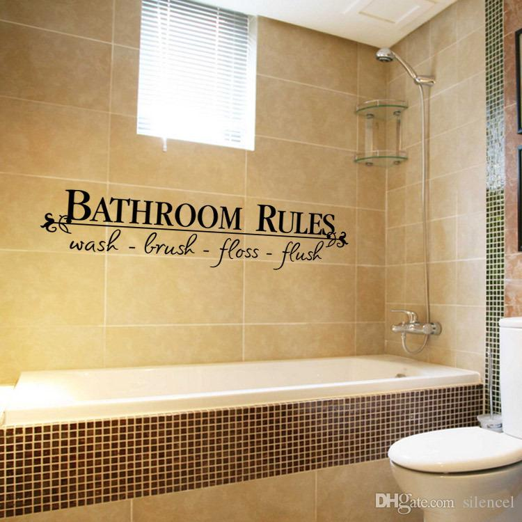 bathroom rules wall stickers decal vinyl shower room carving wall