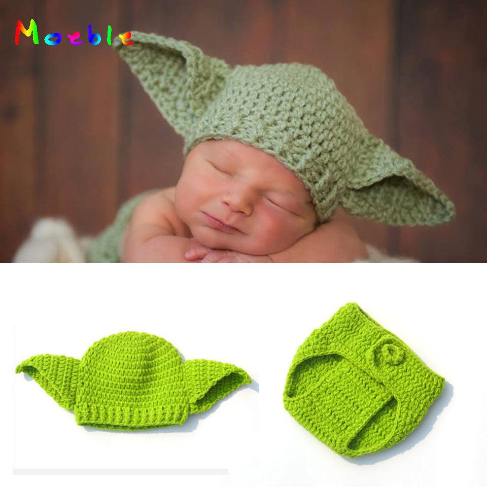 2019 Moeble Infant Boy Knitted Yoda Outfits Photography Props
