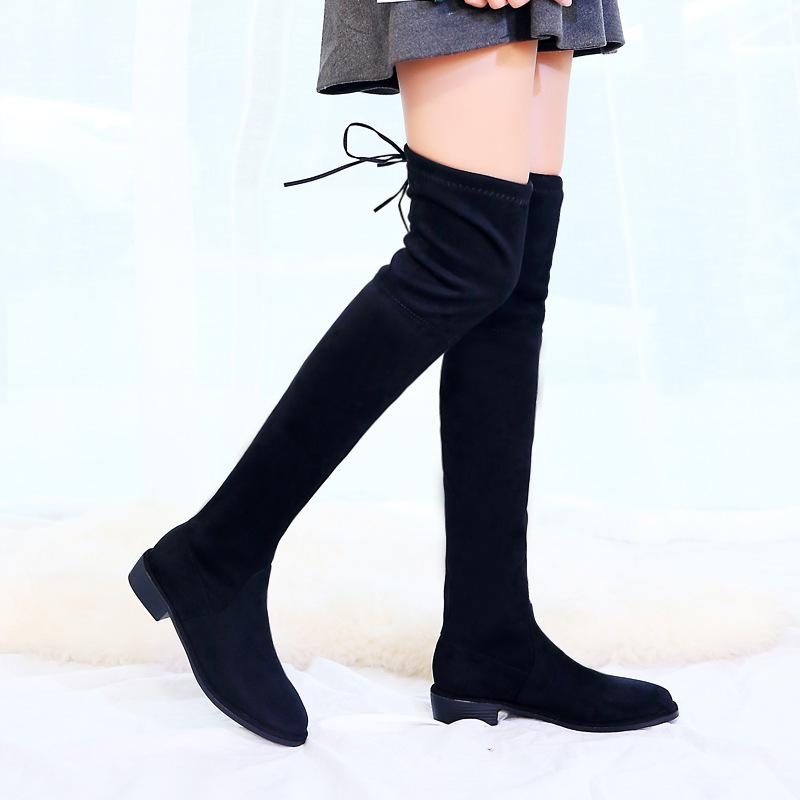 53f620a2c97 Thigh High Warm Boots Female Winter Boots Women Over The Knee Flat Stretch  Sexy Fashion Shoes Women 2018 Black Single Boot Cowboy Boots Chelsea Boots  From ...
