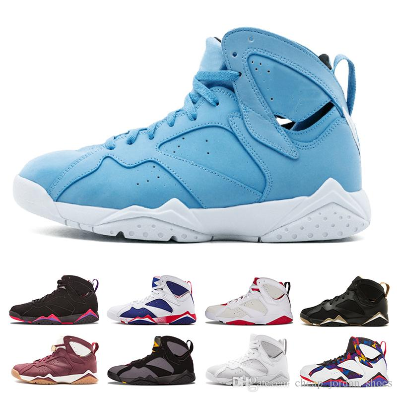 quality design bef73 f4f28 Wholesale 7 Men Basketball Shoes University Blue 7s Sneaker White Black  Pure Money Bordeaux Cigar Hare Olympic GMP Mens Trainer Sports Shoes Shoes  Jordans ...