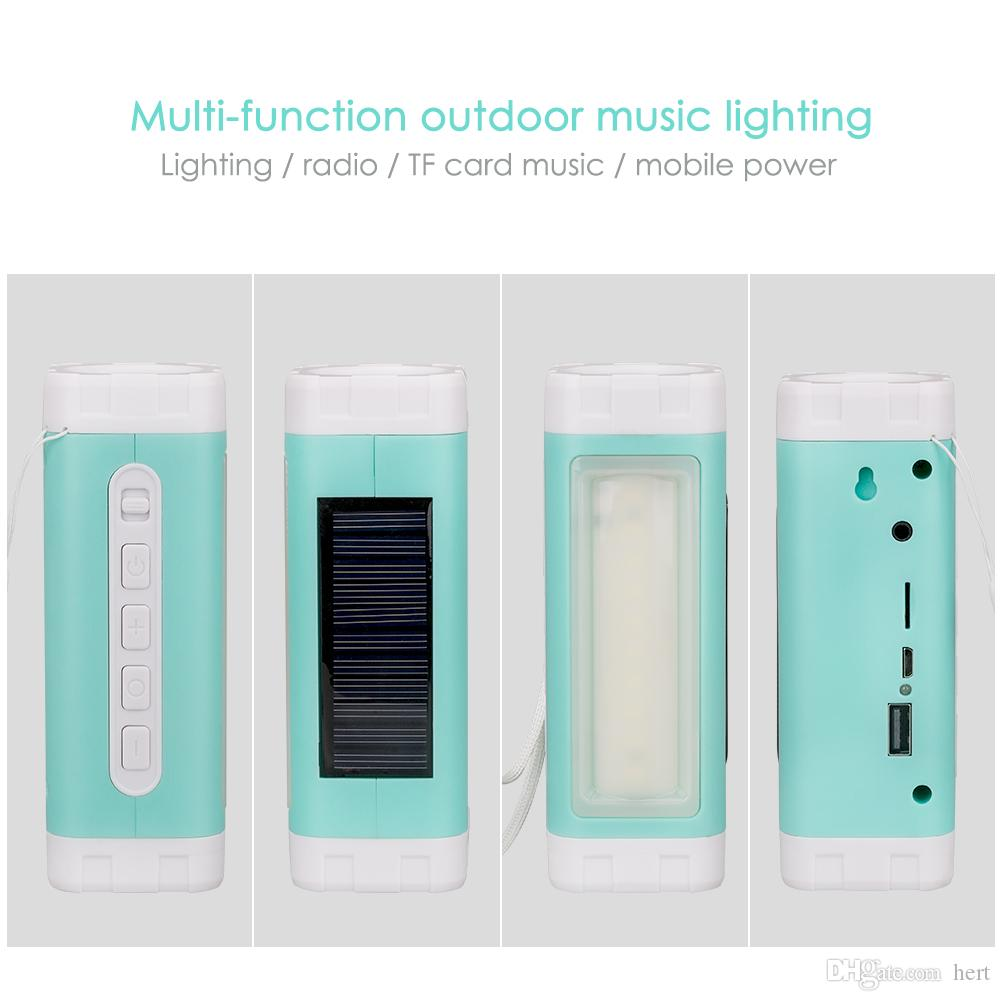 Solar LED Flashlight TF card Speaker Portable Audio MP3 Player with Power Bank Torch Support Radio TF Card read USB Charge for Mobile phones