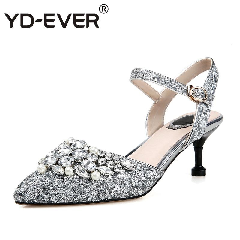 099db326a0446c Wholesale Genuine Leather Women Pumps Diamond Crystal High Heels Luxury Sandals  Shiny Spring Autumn Summer Party Wedding Shoes Shoes For Women Nude Wedges  ...