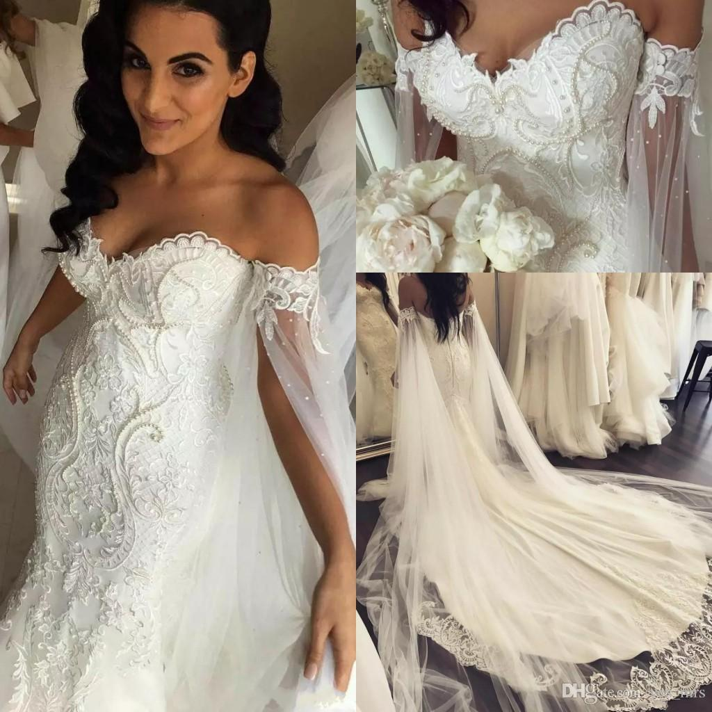 2019 New African Mermaid Wedding Dresses Off Shoulder Lace