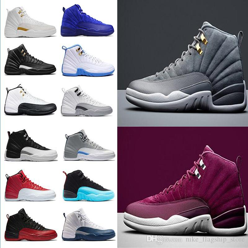 2018 12 12s Men Basketball Shoes Flu Game Dark Grey Bordeaux The Master  Black White Gym Red Taxi Playoffs French Blue Sports Sneakers Kevin Durant  ...