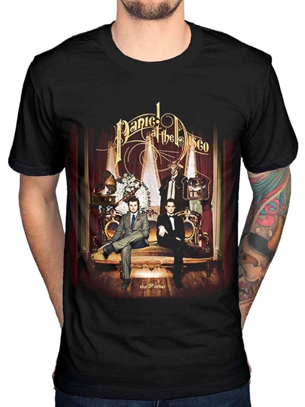 d657bde7b Printed Shirts Men's Short Panic At The Disco Men's Black Cotton T-Shirt  Top Tee Crew Neck Best Friend Shirts