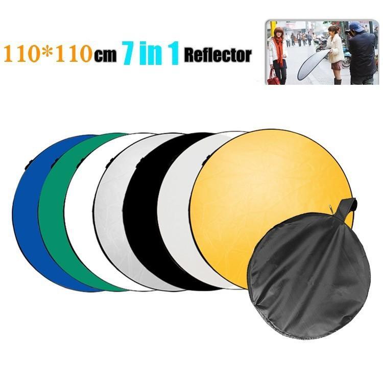 Lightdow 110cm 7 인치 휴대용 접이식 라이트 라운드 사진 리플렉터 스튜디오 멀티 디스크 리플렉터 스튜디오 액세서리