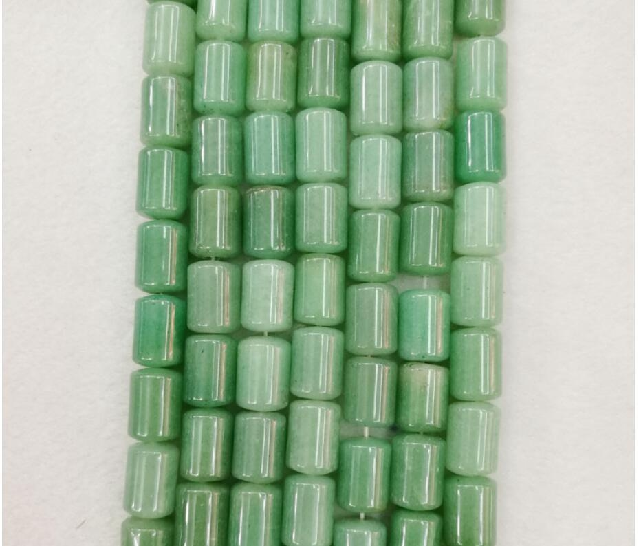 Wholesale Fashion Natural Green Aventurine Cylinder Beads Natural Stone Tube Beads 14mm*10mm 50pcs for Jewelry Accessories