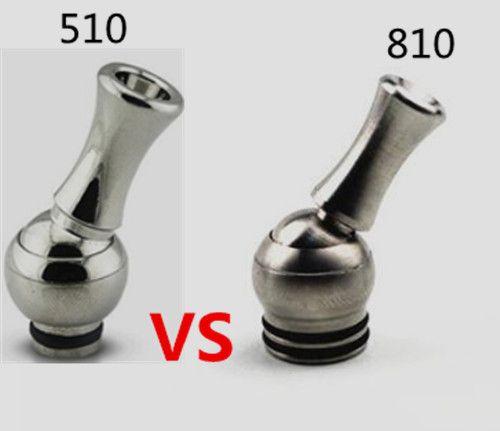 Rostfritt stål roterande dropptips 810 2018 Hot Selling TFV8 Tank Vape Mouth Piece Rotatable 360 grader grossist usa