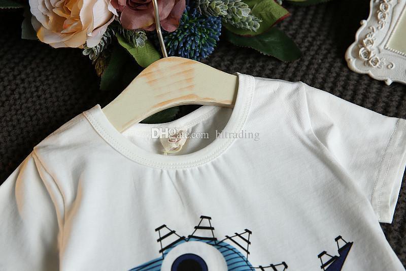 Baby boys dinosaur print outfits children top+stripe Shorts 2018 Summer kids Clothing Sets C4018