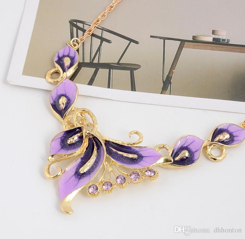Short style necklace dripping oil color butterfly necklace earrings jewelry independent packaging fashion jewelry WQ29