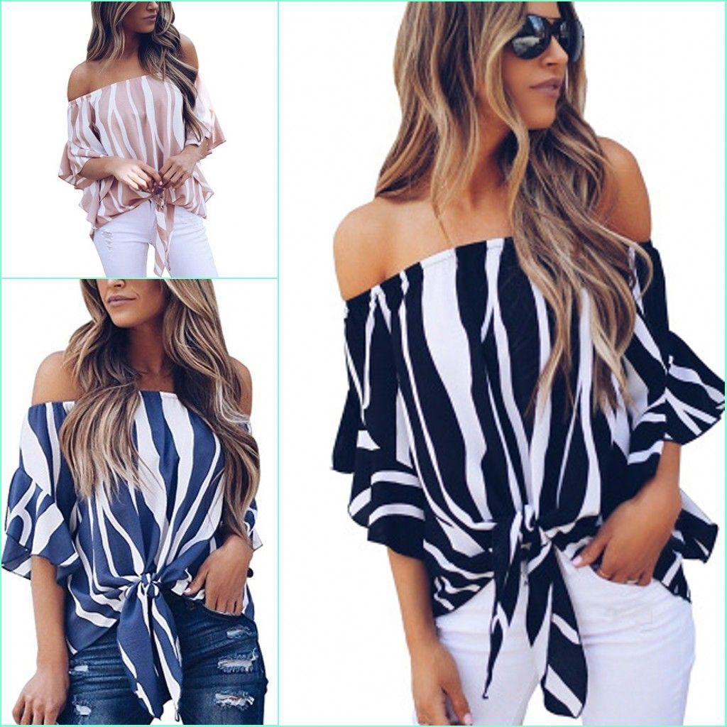 f80f9efcbb3541 2019 Fashion Clothing Women Striped Off Shoulder Chiffon Blouse Shirts 2018  Sexy Slash Neck Flare Sleeve Ladies Loose Tops 235 From Fantasybaby