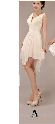 Estilo de chocolate oscuro A US24W Nuevos vestidos de dama de honor hasta la rodilla elegantes y baratos hasta la rodilla Vestidos de fiesta de boda LD003