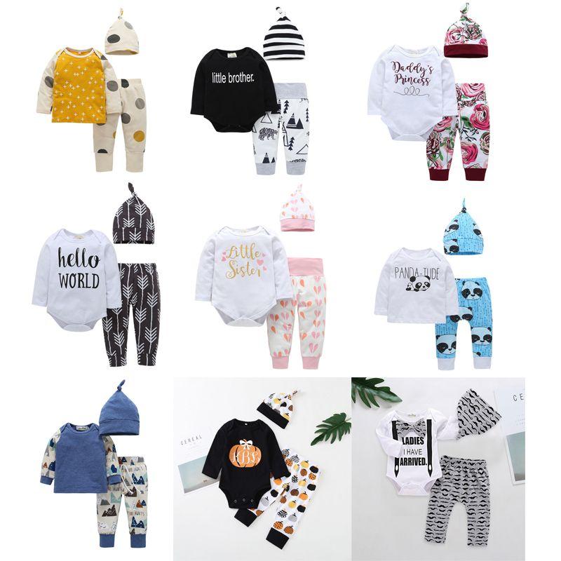 46a7e9f60ce40 Acheter Nouveau Né Bébé Garçon Filles Vêtements Noël Creuxen Tenue Enfants  Garçon Filles 3 Pièces Ensemble Barboteuse + Pantalon + Chapeau Bébé Enfants  ...