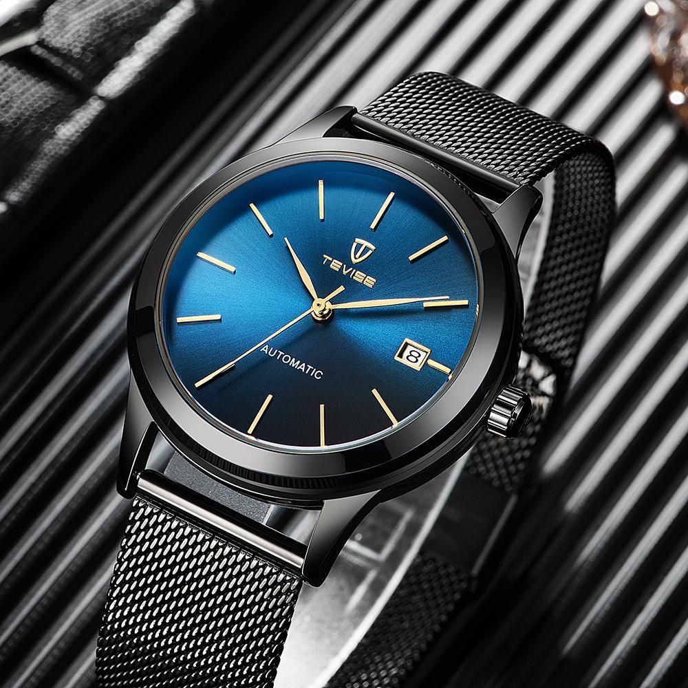 cb26bd480954 Compre Tevise Impermeable Reloj Hombres Malla Banda De Acero Inoxidable Automático  Reloj De Pulsera De La Marca De Lujo Automático Reloj Mecánico Hombres ...