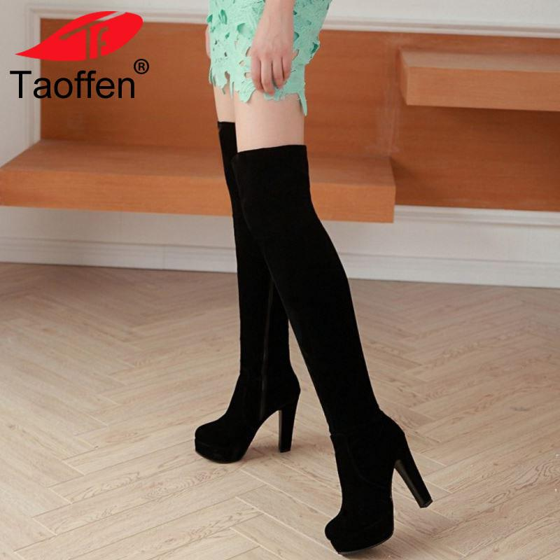 bda8f8ca093 Taoffen Faux Suede Spike High Heel Over Knee Boots Thigh High Platform Side  Zipper Boots Women S Winter Shoes Boot Size 33 43 Booties Football Boots  From ...