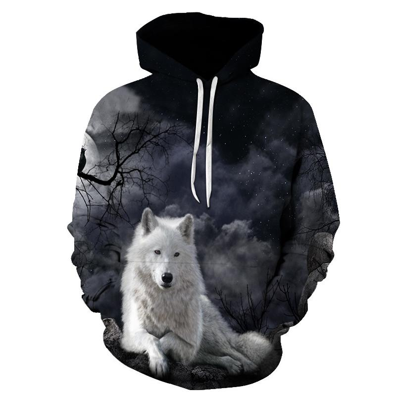 BZPOVB 2018 new Galaxy Wolf 3D Hoodies Sweatshirts Men Hooded Pullover Cool Skateboard Tracksuits Male Streetwear Pocket Jackets