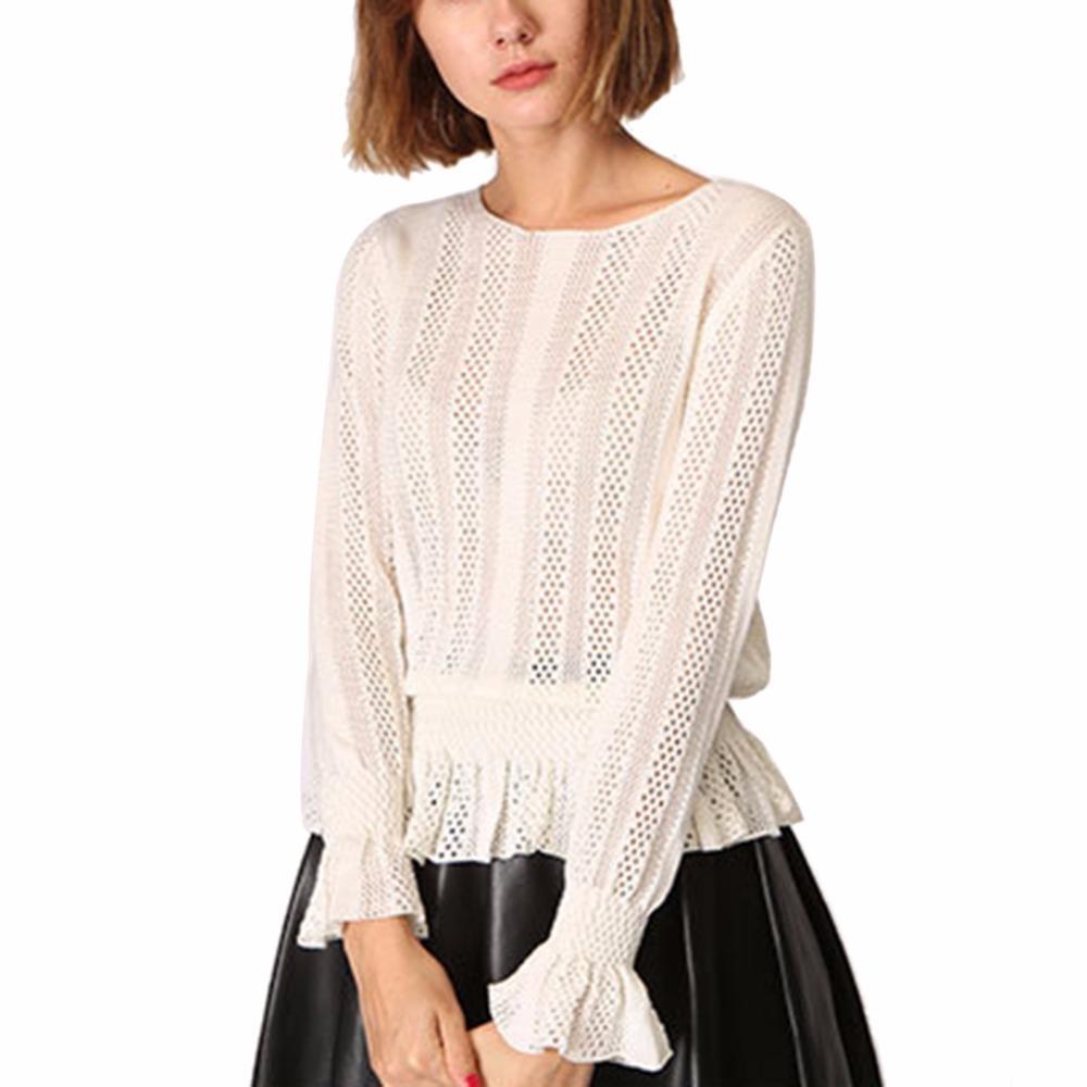 da426d742 Sexy hollow wool split knitted ruffles sweater Women brand black pullovers  knitwear Autumn winter white jumper pull striped