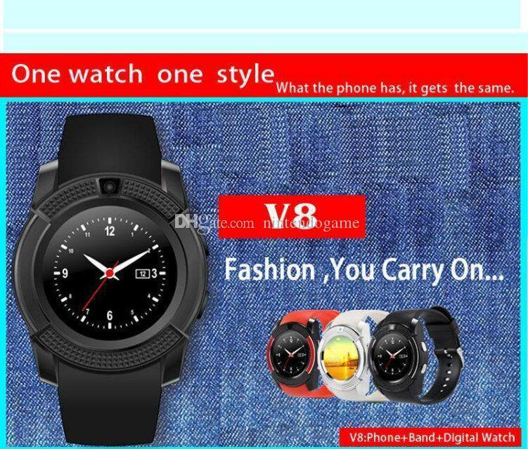 Хорошо упакованные смарт-часы V8 круглый циферблат Bluetooth Smartwatch телефоны с камерой спортивные наручные часы для Android/iOS многоязычный продукт