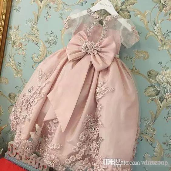 2019 розовый принцесса маленькие девочки партия платья кружева аппликация бусины ясных коротким рукава цветок девушка платья дети конкурс платья на заказ