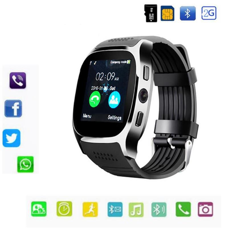a945b0b08dd5 Умные Браслеты Т8 С Bluetooth Смарт Часы Поддержка 2G SIM Карты Макс 8 ГБ  TF Карта Камеры Для Android IOS Устройства, Детей, Женщин Часы Телефон С  Розничной ...