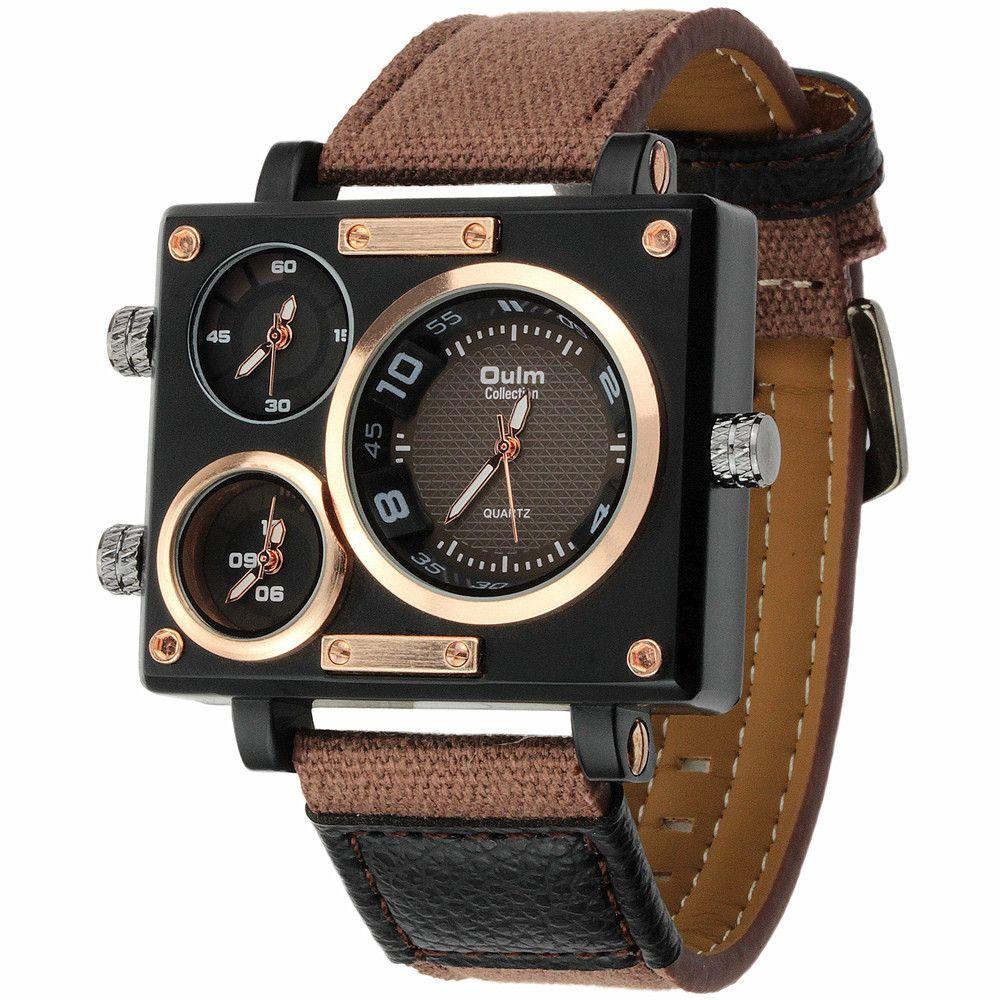 873dbee2520 Luxury Quartz Watch Brand Rectangle Men Quartz Dress Fashion Watch Oulm  3595 Three Time Zone Canvas Strap Relogio Masculino Fashion Watches Fine  Watches ...