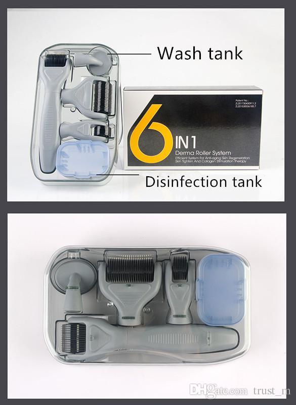 DRS Derma rulo Sistemi 6 in 1 Titanyum Derma Rulo Skar Yüz Fırça Mikro İğne Terapi Cilt Bakım Seti