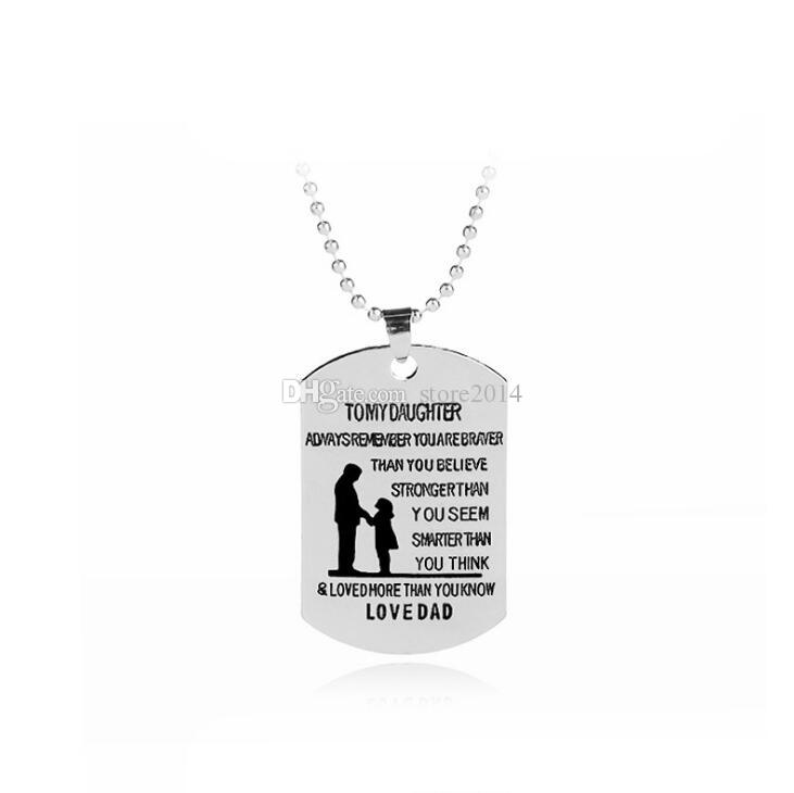 9bb898d60 Wholesale Dad To My Daughter Dog Tag Necklace Never Forget I Love You  Personalized Custom Military Dog Tags Pendant Gift Diamond Pendant Necklace  Gold Chain ...