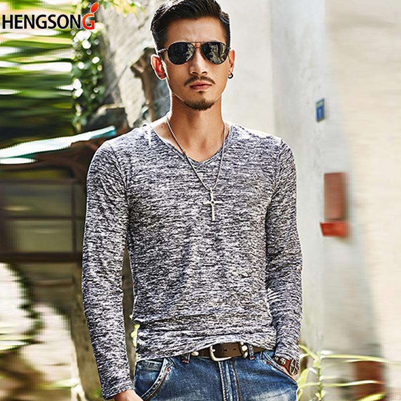 7b86f91d7b5b 2018 NEW Trendy Summer Men T Shirt Casual Long Sleeve Slim Men S Basic Tops  Tees Stretch T Shirt Mens Clothing Chemise Create T Shirt Movie T Shirts  From ...
