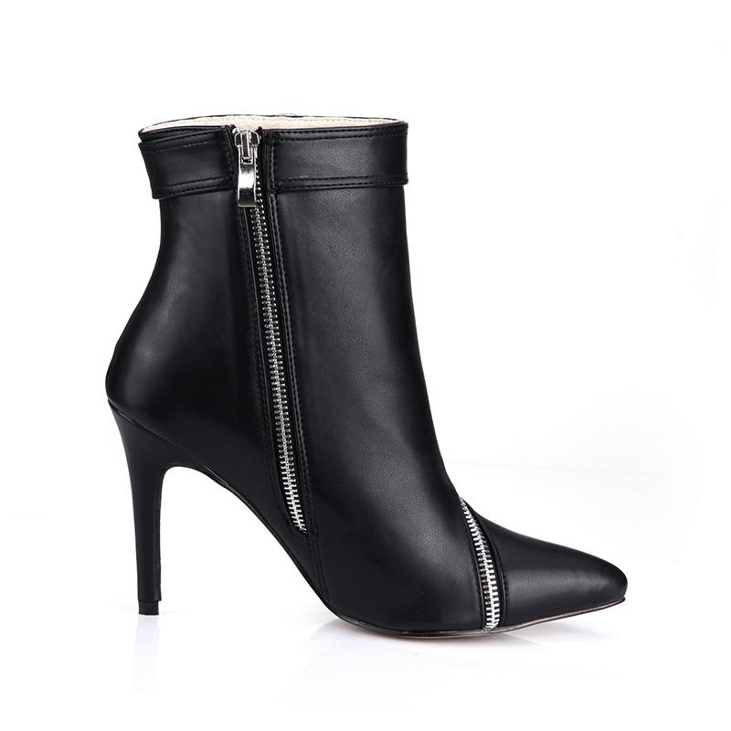 Top Fashion Women Ankle Boots Pointed Toe Black Soft Leather Ankle Boots 9.7cm Heels Zip Buckle Big Size 35-40 Women Shoes Boots Designer