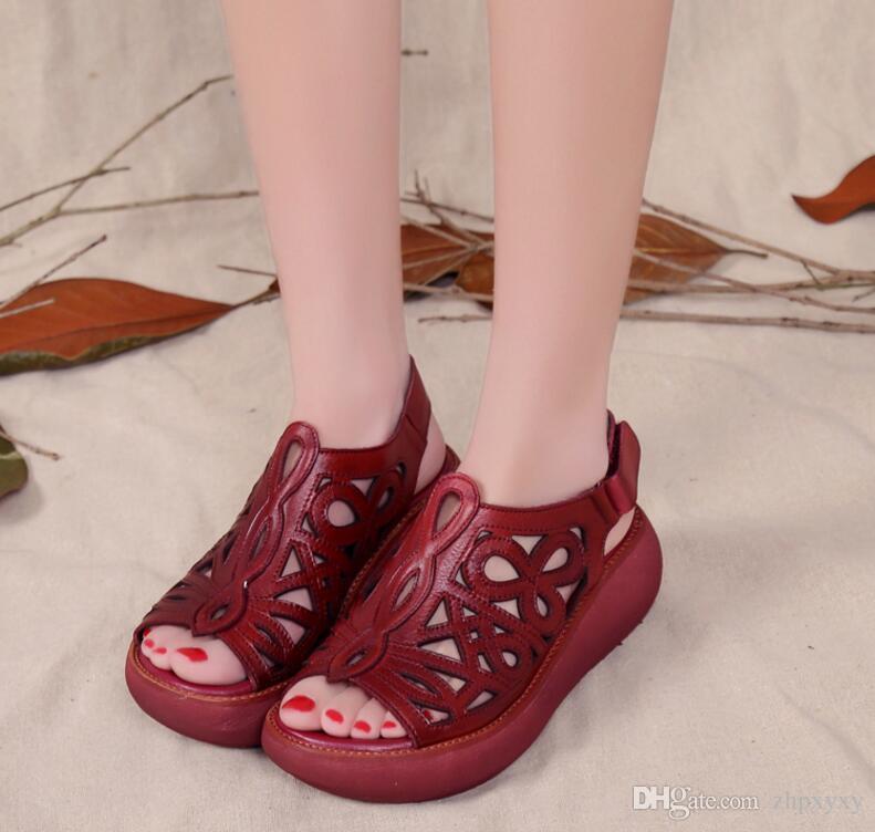 Echtes Leder Frauen Sandalen 6 CM High Heels Wedge Sommer Schuhe Fisch Mund Frauen Leder Handgemachte Aushöhlen Sandalen 1NX16