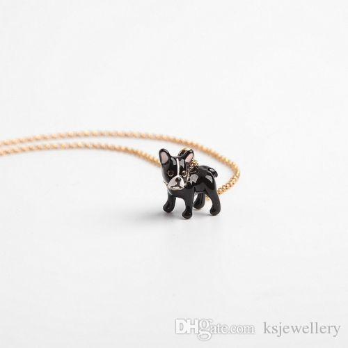 Yeni Otantik Haute Stuff Bulldog Mini Kolye Kolye Altın Kaplama Siyah Emaye