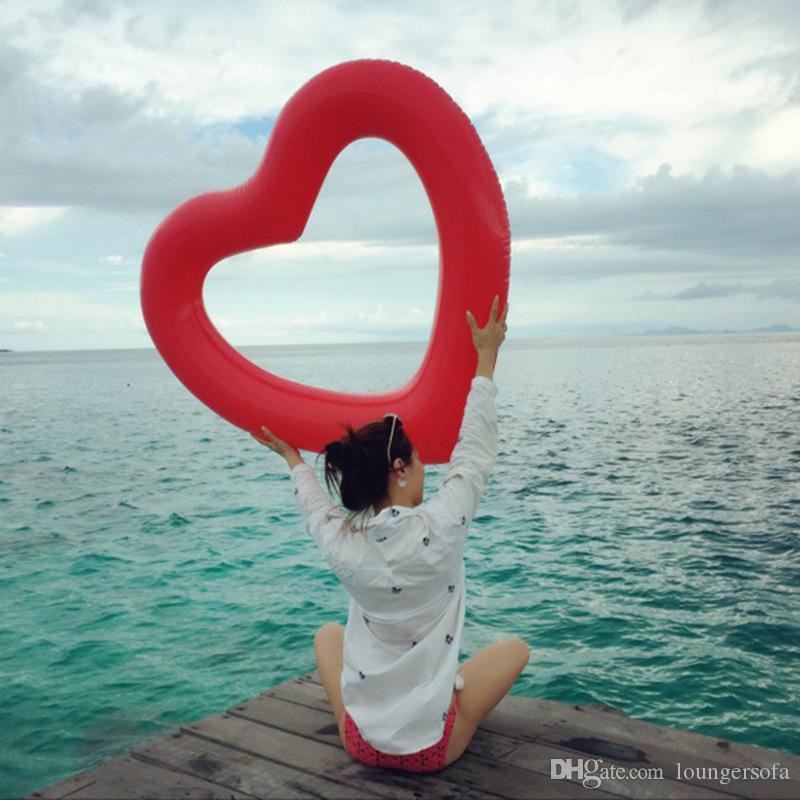 사랑 심장 수영 반지 파티 장식을위한 크리 에이 티브 특대 아름 다운 풍선 튜브 패션 달콤한 디자인 풀 부동 매트 14 8xr Z