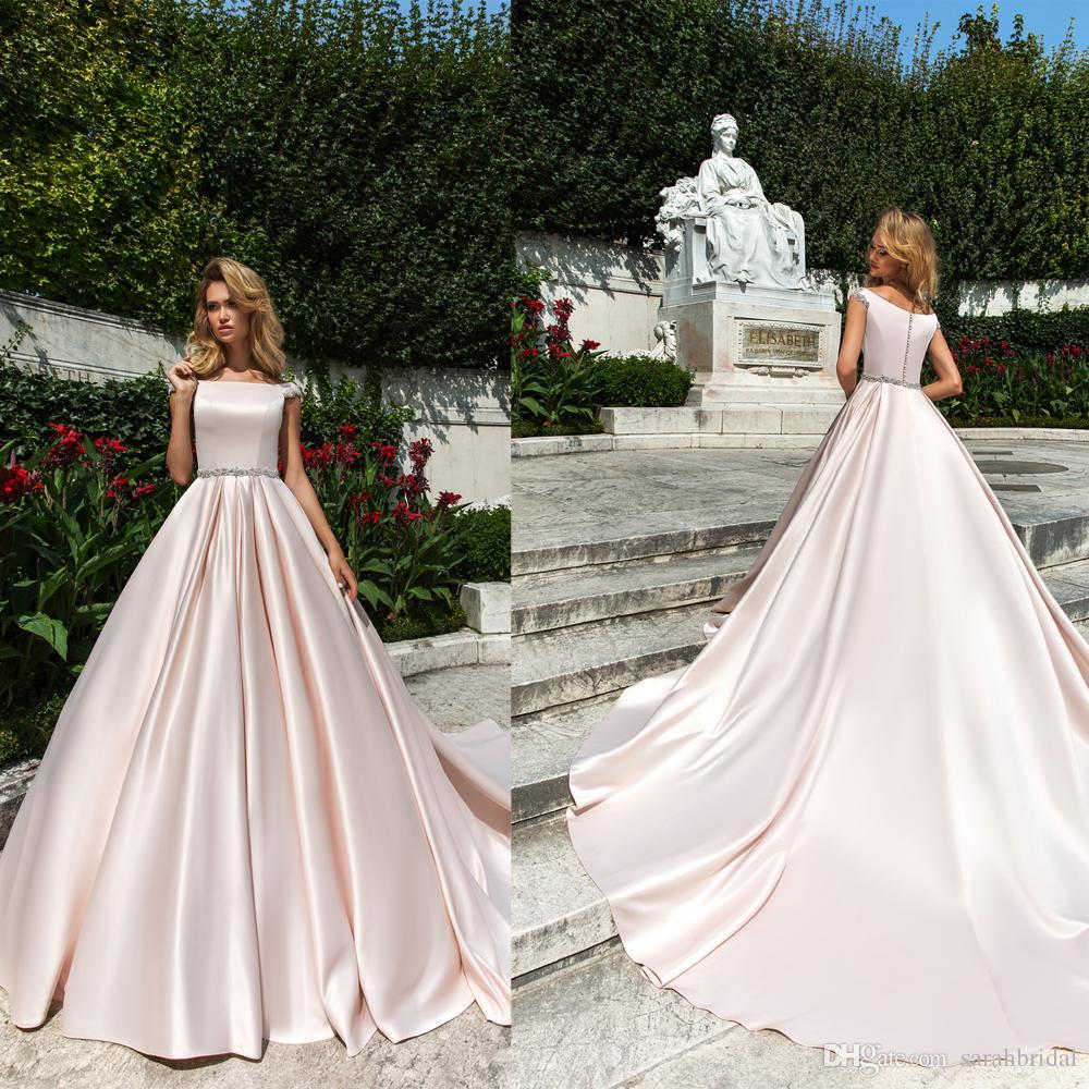 Simple A-line Elegant Wedding Dresses 2018 New with Crystal Waist ... aa840e2a7f