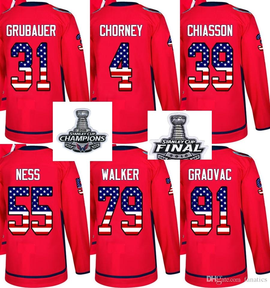 2018 Stanley Cup Champions Final Men Women Kid Washington Capitals USA Flag  Grubauer Chorney Chiasson Ness Walker Graovac Hockey Jerseys UK 2019 From  ... 4a8e61b67