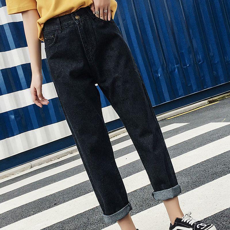 Femmes Taille Acheter Rétro Casual Jeans Sarouel Haute Noir Maman qntwtrPY