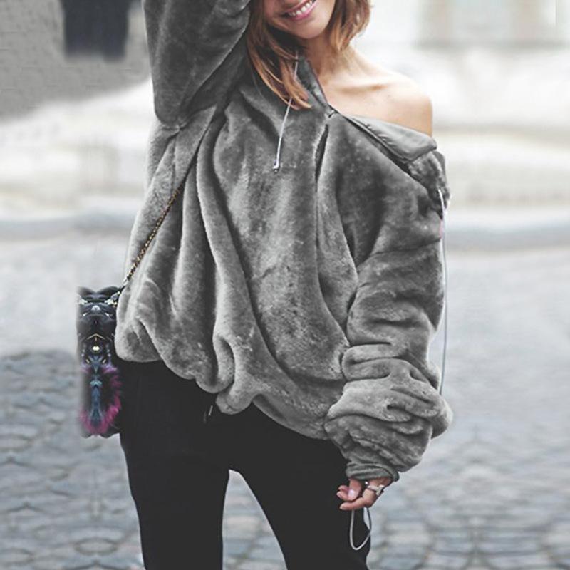 986bd6b9e Compre Pele Das Mulheres Que Vendem A Roupa Da Forma Do Outono   Inverno O  Conforto Térmico Irregular Mulheres Veste A Camisola