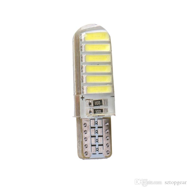 T10 W5W LED Light 194 12 SMD Reading Dome Bulb Silicone Case 7020 Car Side Wedge Lamp White Car Styling 12V