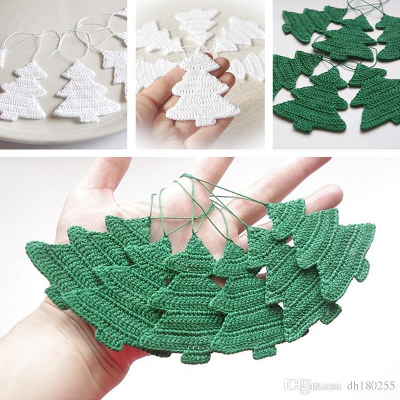 Großhandel Weiße Weihnachtsverzierung Hand Häkeln Dekorationen