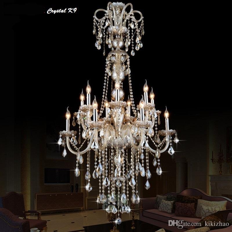 Large Long Chandelier Crystal Led Pendant Chandelier Lights Fixtures Hotel  Crystal Lighting Lamp Staircase Long Chandelier Light Pendant Chandelier  Lights ... - Large Long Chandelier Crystal Led Pendant Chandelier Lights Fixtures
