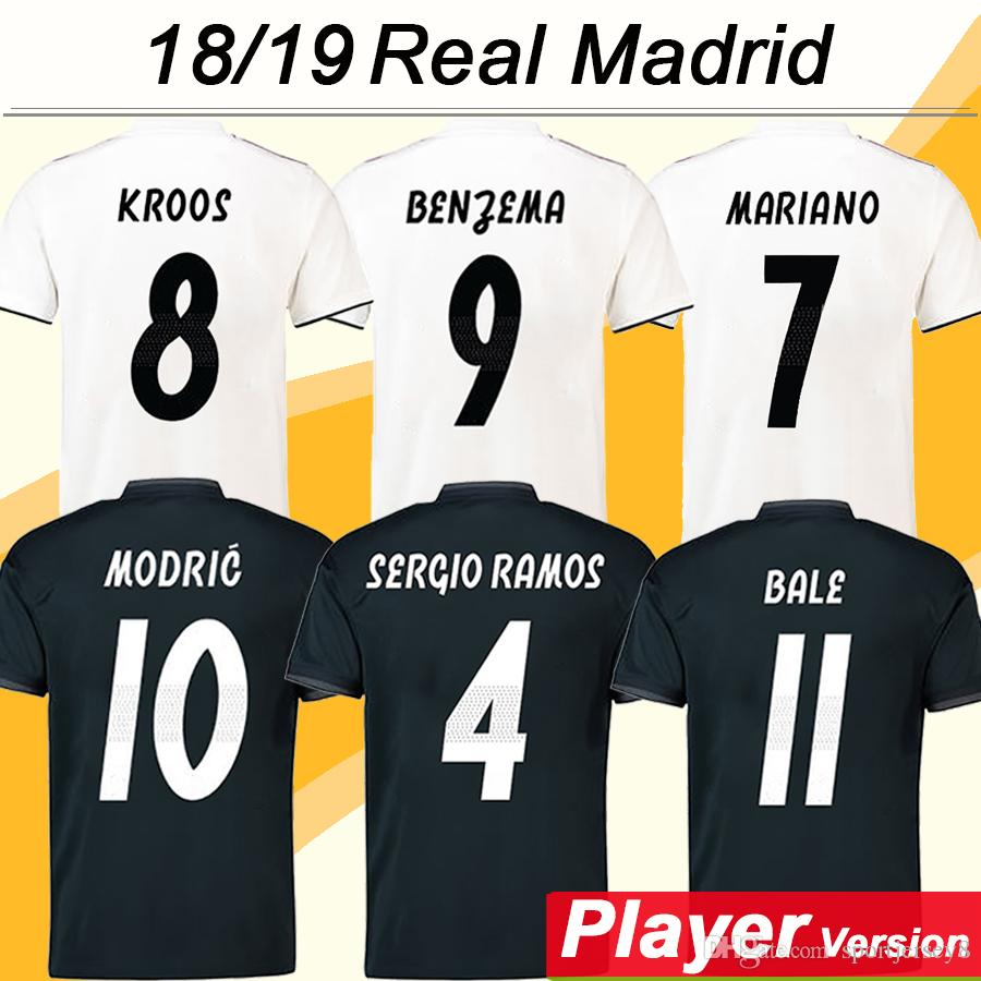 2019 2018 19 BENZEMA KROOS Player Version Soccer Jerseys ISCO BALE MARCELO  MARIANO Football Shirts SERGIO RAMOS MODRIC Home Away Mens Uniforms From ... 88d9726b5