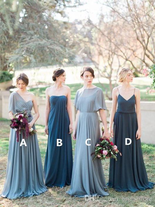 3d338a693f Dusty Gray Mismatch Chiffon Cheap Country Bridesmaid Dresses Floor Length  Beach Bridesmaid Dresses Under 100 Designer New Long One Shoulder Bridesmaid  ...
