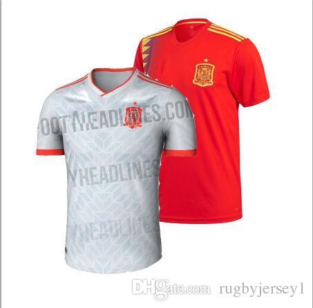 half off 9aaa2 0fa8d Spain away home red Soccer Jersey 2018 world cup Spain home soccer shirt  2018 #7 MORATA #22 ISCO uniforms plus size 2XL 3XL4XL