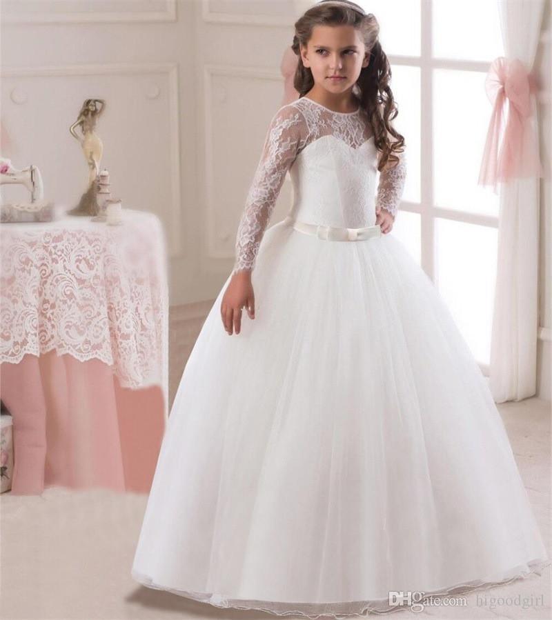 compre 2018 vestido de niña de las flores de encaje blanco hermoso