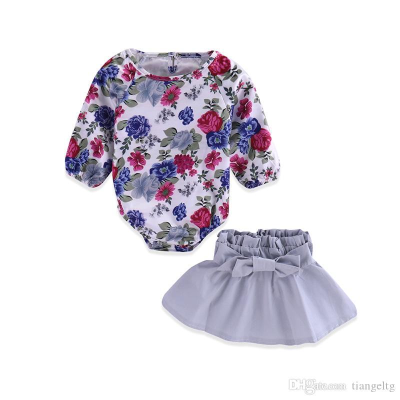 Baby Girls Romper+Skirt Suit Baby Clothing Sets Floral Romper Jumpsuit Bow Elastic Band TUTU Skirt Spring Autumn Summer 0-18M