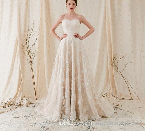 compre elegante vestido de novia de encaje chantilly marfil sin