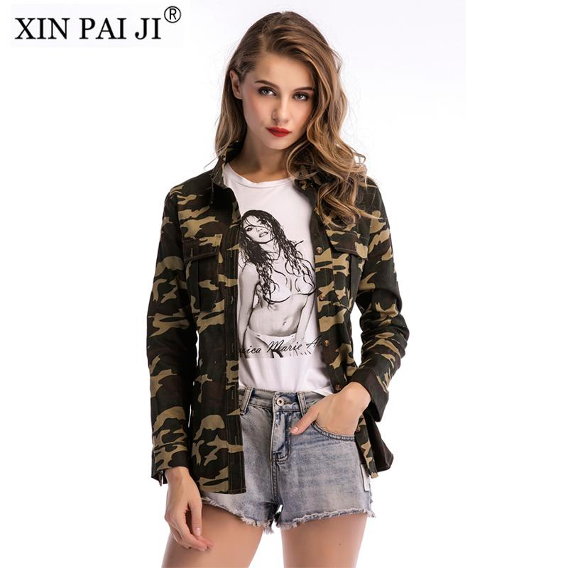 Women Military Jacket Shirt Spring Autumn Pocket Long Sleeve Button Outwear  Coats Female Casual Camouflage Jackets Blouses Coat For Men Leather Jackets  ... 721930fed2
