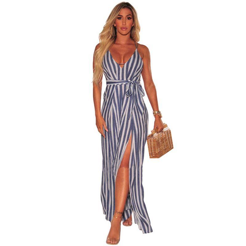 f260e132d8d1 2019 Blue Striped Culotte Jumpsuit Women Summer V Neck Criss Cross Back  High Split Wide Leg Jumpsuit Holiday Elegant Party Jumpsuits From  Bclothes001